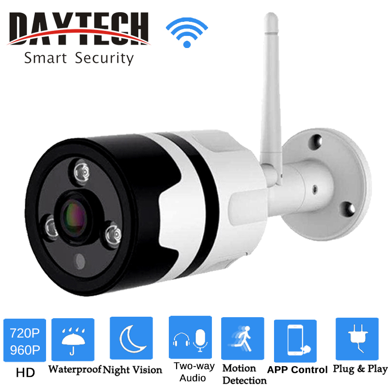 DAYTECH Wireless IP Camera WiFi Security Camera HD 720P/960P Waterproof Outdoor Monitor Two-way Audio IR Night Vision DT-H03 daytech wifi camera ip 960p home security camera wi fi p2p two way audio ir night vision network baby monitor wireless hd 960p