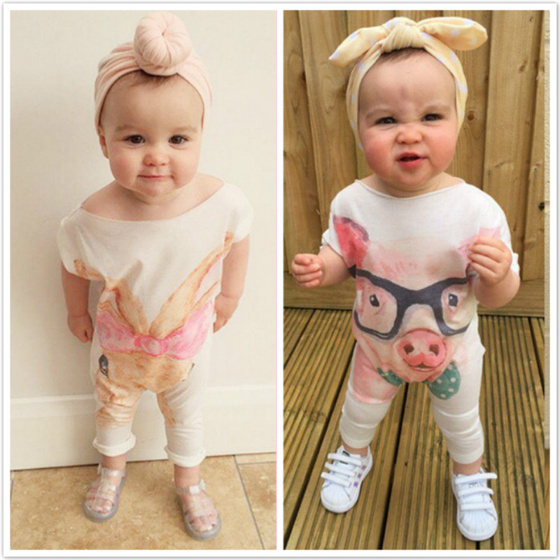 цена Newborn Infant Baby Girls Rompers Cute Cartoon Rabbit Pig Baby Rompers Jumpsuit Outfits Sunsuit Baby Girls Clothes 0-24 Months