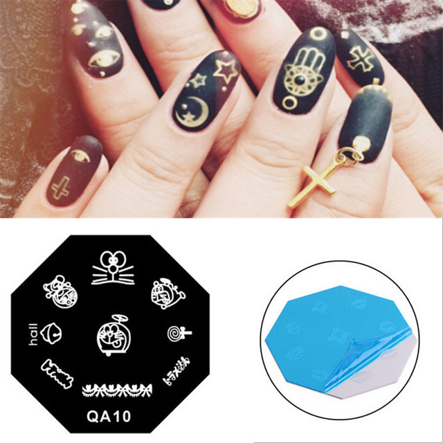 Cute Doraemon Mouse Pattern DIY Painting Nail Art Stamp Stainless ...