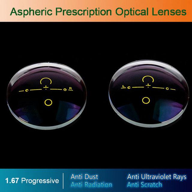 1.67 Digital de forma Libre Progresista Ópticos Asféricos lentes de Prescripción de Anteojos Gafas Lentes Ópticas