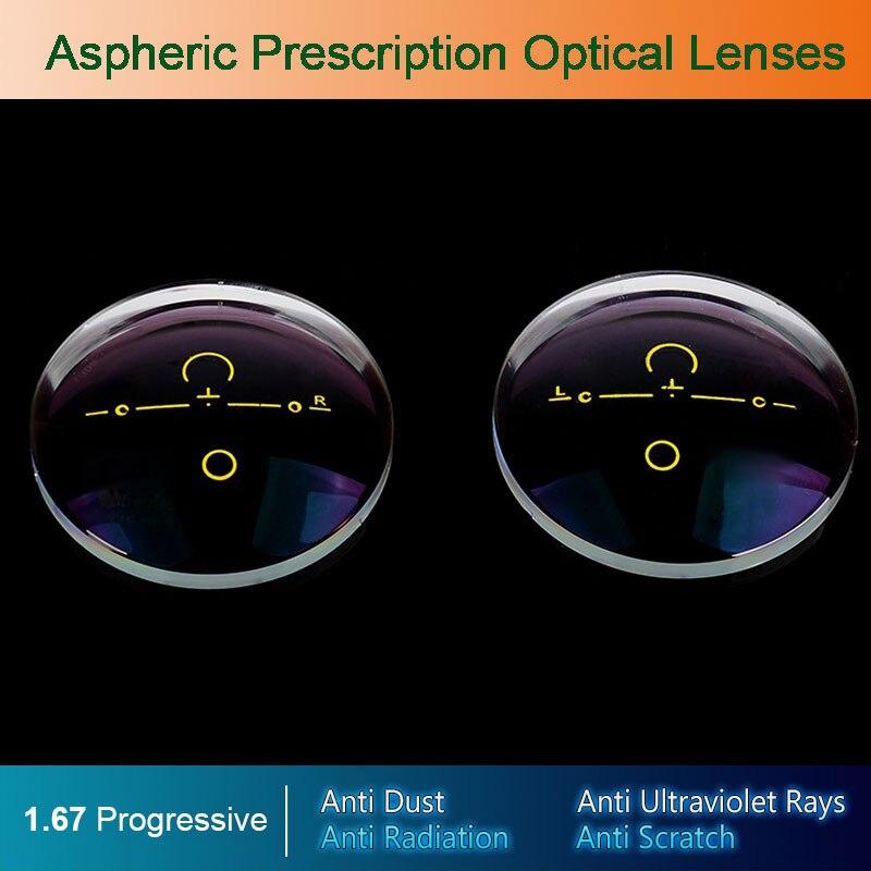 1.67 Digitale Free-form Progressive Ottico Asferico Occhiali Da Vista Eyewear Lenti Ottiche