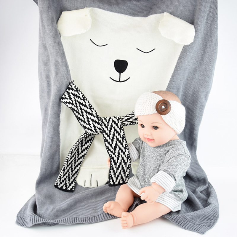 цены Mamadada Soft Baby Animal Bear Blanket Crochet Newborn Babies Blankets Pink Blue Gray Children Cover Infant Pure Color Cotton