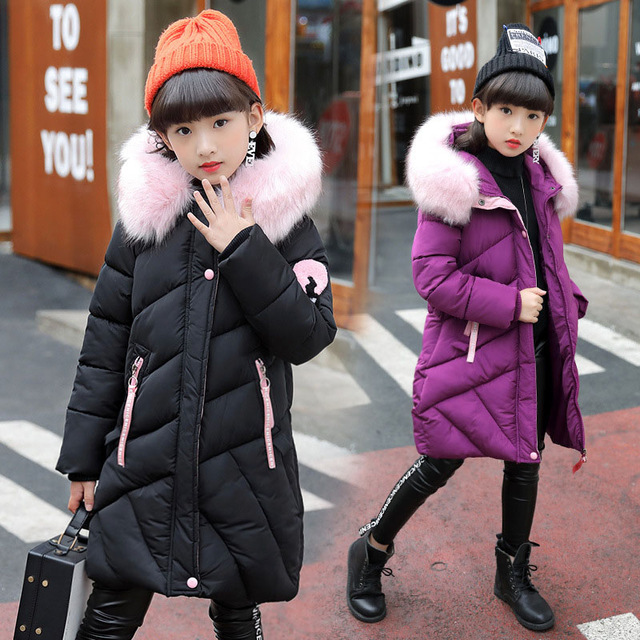 -30 degree Girls Winter Parka Coat Children Warm Jacket Hooded Fur Collar Clothes Kids Thick Cotton Padded Coats For Girls