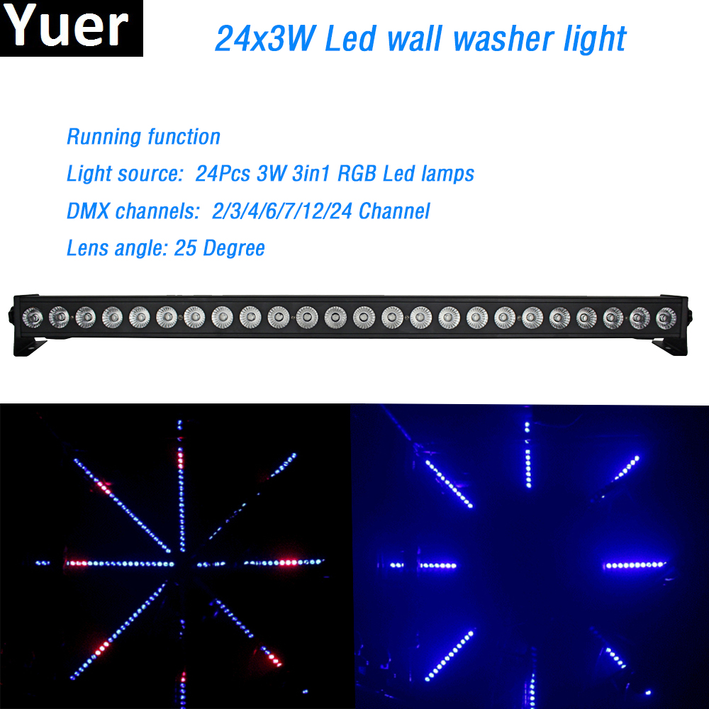 Led Wall Washer Bar 24x3W RGB 3in1 Led Light Bar Running Horse Function dmx DJ Disco Party Show Effect professional stage lights