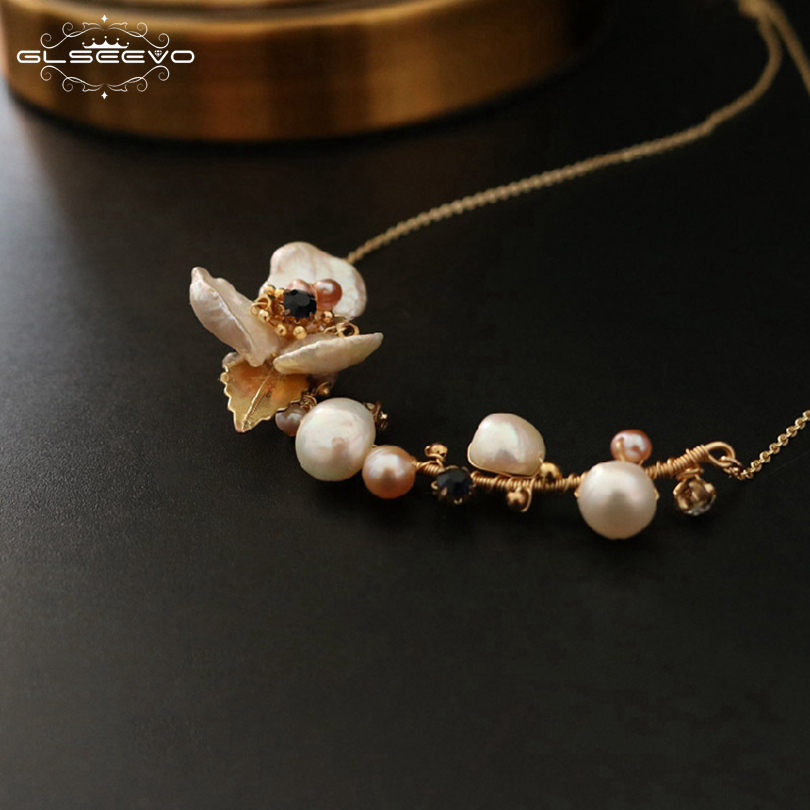 GLSEEVO Natural Fresh Water Baroque Pearl Flower Pendant Necklace For Women Luxury Fine Jewellery Bijoux Collares Collane GN0064