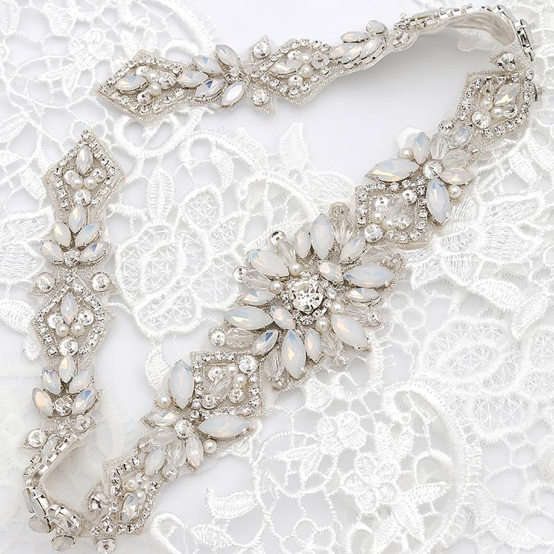 YANSTAR (1pcs) Rhinestones Appliques Wedding Dress Belt Sew On Bridal Sashes Rose Gold Opal With Rhinestones YS935