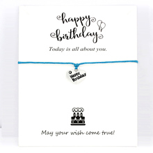 Happy Birthday Cake Charm Bracelets Card Women Men Unisex Handmade Antique Silver Jewelry Drop Shipping Gift