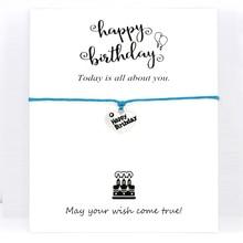 Happy Birthday Cake Charm Bracelets Card Women Men Unisex Handmade Antique Silver Jewelry Drop Shipping Gift