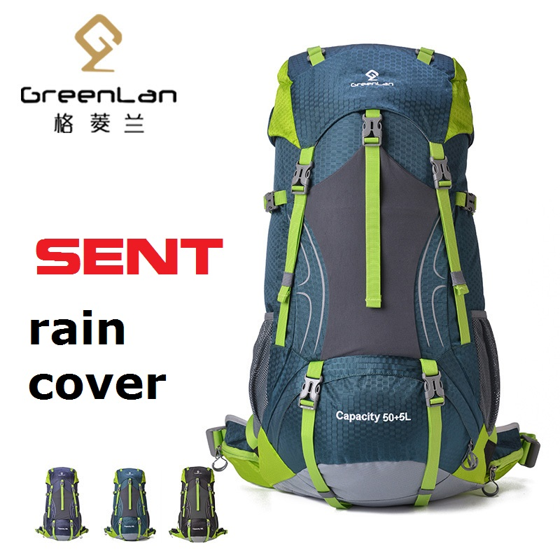 GREENLAN Outdoor 55L Waterproof professional Climbing mountain Backpack Large Multifunction Tactical camping Sports Travel bag blog flashlight outdoor 5led pocket strong waterproof 8 hours to illuminate mountain climbing camping p004