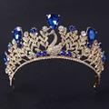 Women Tiaras High Grade Wedding Crown Jewelry Fashion Blue Phoenix Crystal Bride Head Hair Accessories Queen Hairwear WHG076