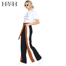 Haoyihui Loose Comfortable Wide Leg Pants Tall Waist Slender Walkable Domiciliary Striated Sportive Free Psychic