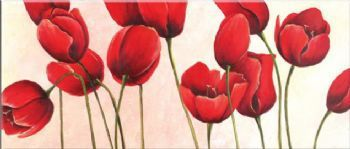 Hand Painted Oil Painting Joyful Tulips-Floral Canvas Wall Art-Modern Red Flower Wall Pictures for Living Rooms Home Decor