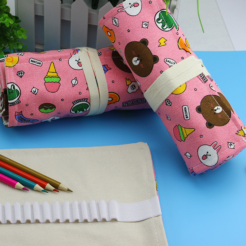Kawaii Cute Bear School Pencil Case Canvas Large 36/48/72 Roll Penal Pencilcase for Boys Girls Pen Bag Stationery Pouch SuppliesKawaii Cute Bear School Pencil Case Canvas Large 36/48/72 Roll Penal Pencilcase for Boys Girls Pen Bag Stationery Pouch Supplies