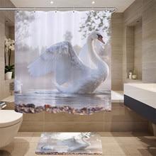 High-quality Furniture Supplies Digital Printing 3D Simulation Animal Pattern Shower Curtain Swan Fabric Shower Curtain
