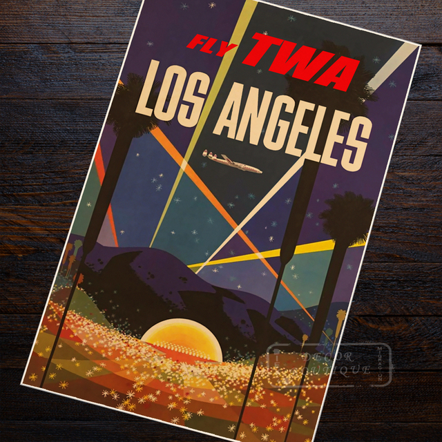 Los Angeles TWA Airlines Travel Landscape Vintage Retro Poster ...