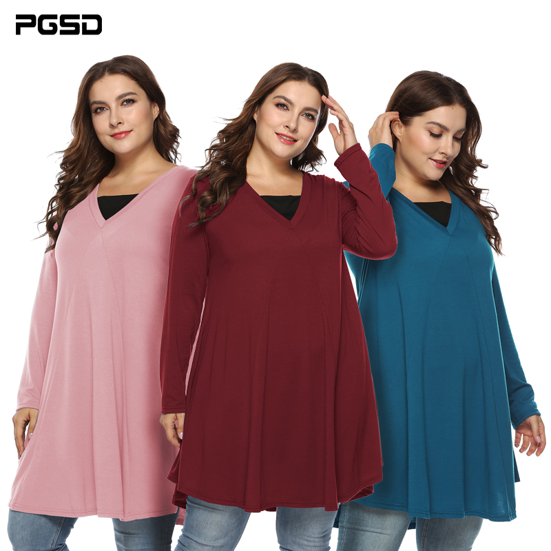 PGSD Autumn Women clothes Simple fashion Pure color Long sleeved Vcollar Irregular Two fake Loose Dress female Big Plus size 5XL in Dresses from Women 39 s Clothing