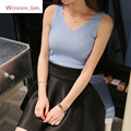 2017 New Arrival Women's Summer Clothes Fashion Brief Solid Doble V-Neck Knitting Female Blouse Top Sexy Slim Crops 5 Colors In