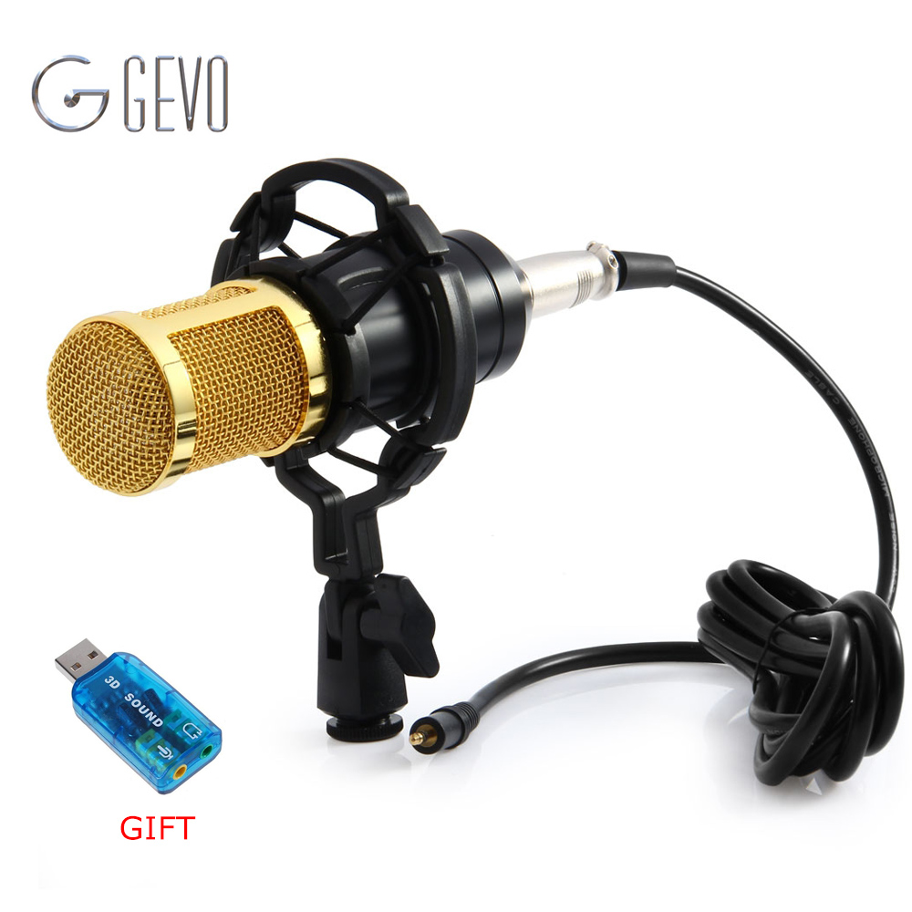 GEVO BM 800 Computer Microphone 3.5mm Wired Condenser Sound Microphone With Shock Mount For Recording Braodcasting BM-800 heat live broadcast sound card professional bm 700 condenser mic with webcam package karaoke microphone