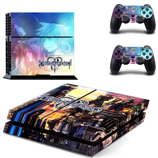 Game Kingdom Hearts 3 PS4 Skin Sticker Decal for Sony PlayStation 4 Console and 2 Controller Skin PS4 Sticker Vinyl