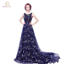 100% Real Image Long Party Dress Dark Blue Evening Dresses vestido largo Bling Chapel Train Cheap Prom Gowns Stock High Quality