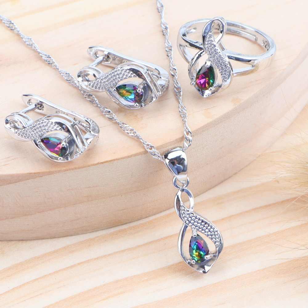 Đám cưới Nữ Bạc 925 Cô Dâu Bộ Trang Sức Sang Trọng Đính Đá Zircon Magic Rainbow Trẻ Em Trang Sức Bông Tai Vòng Cổ Vòng Cho Nữ