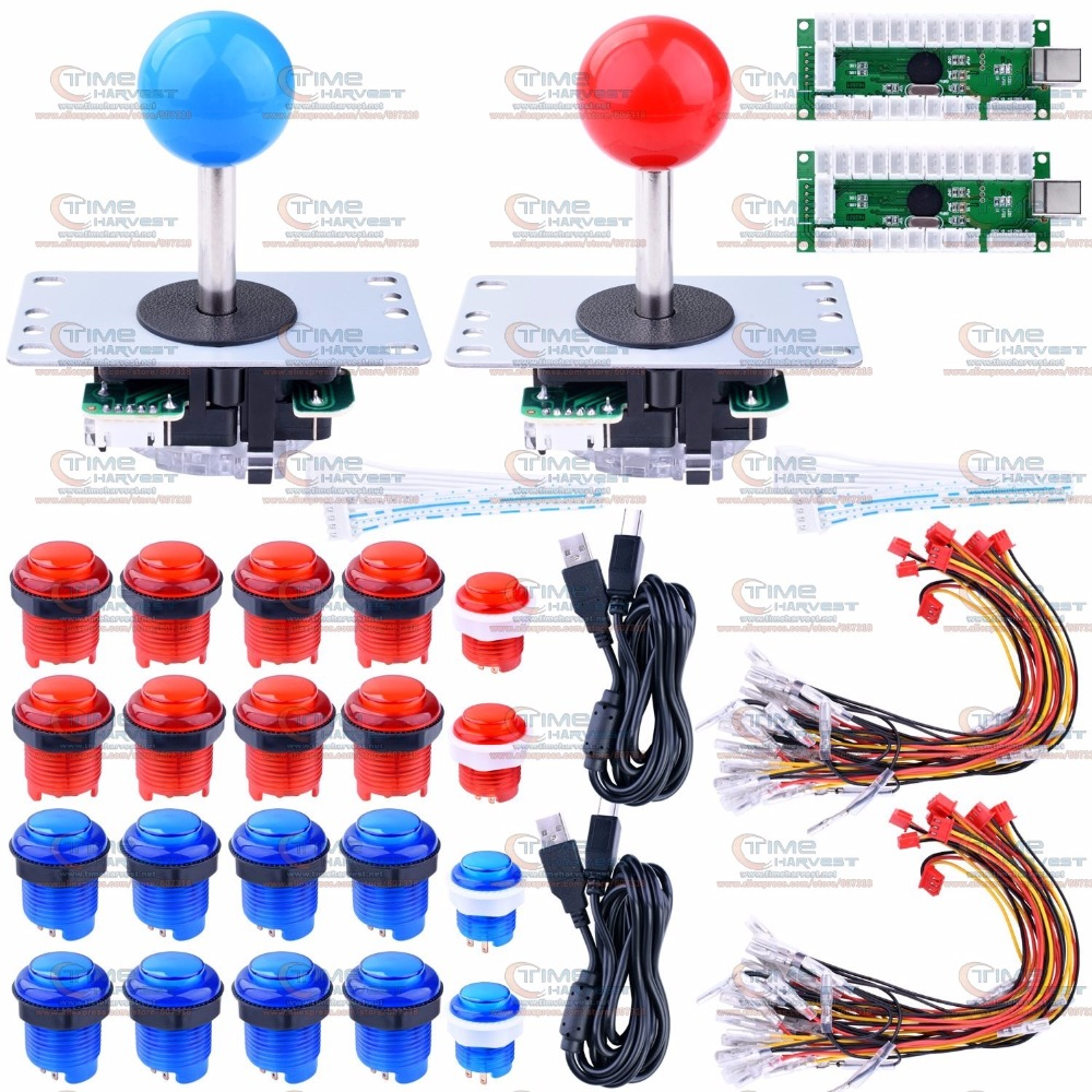 DIY arcade joystick handle set kit with 5pin Joystick LED function Zero Delay USB Encoder 5V LED buttons parts for PC game plate