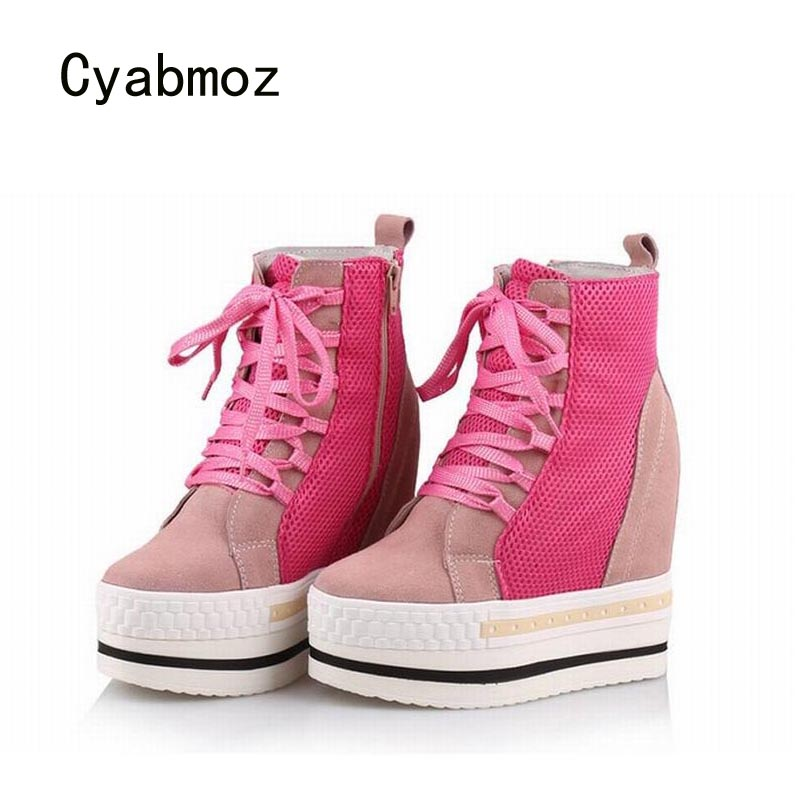 Cyabmoz Women Shoes Woman Platform Wedge High heels Mixed colors Breathable Ladies Shoes Zapatillas Zapatos mujer Tenis feminino цена и фото