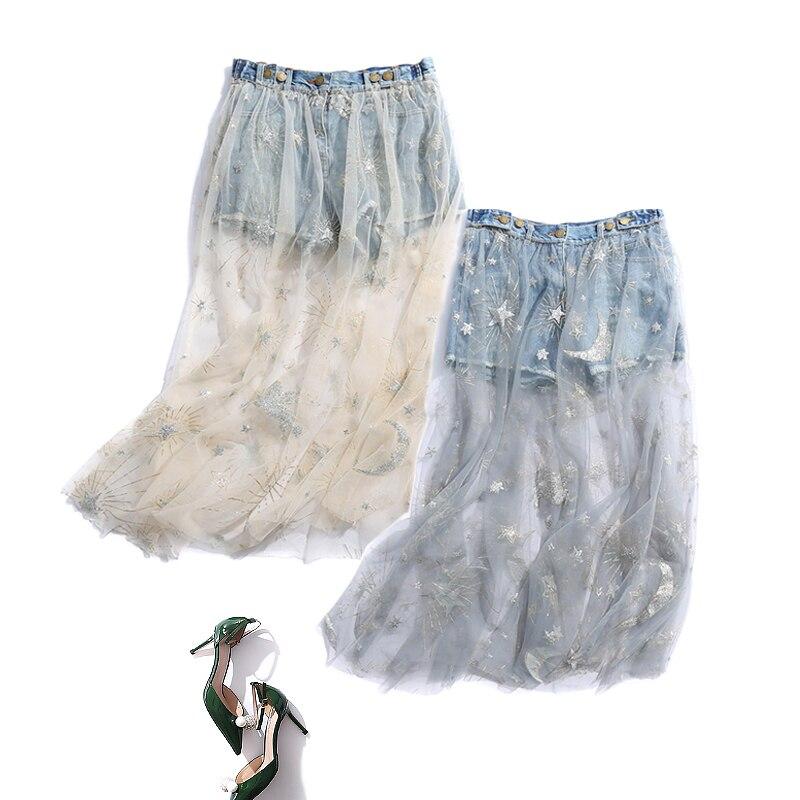 Printemps 2019 nouvelle jupe coréenne en maille Denim couture jupe courte