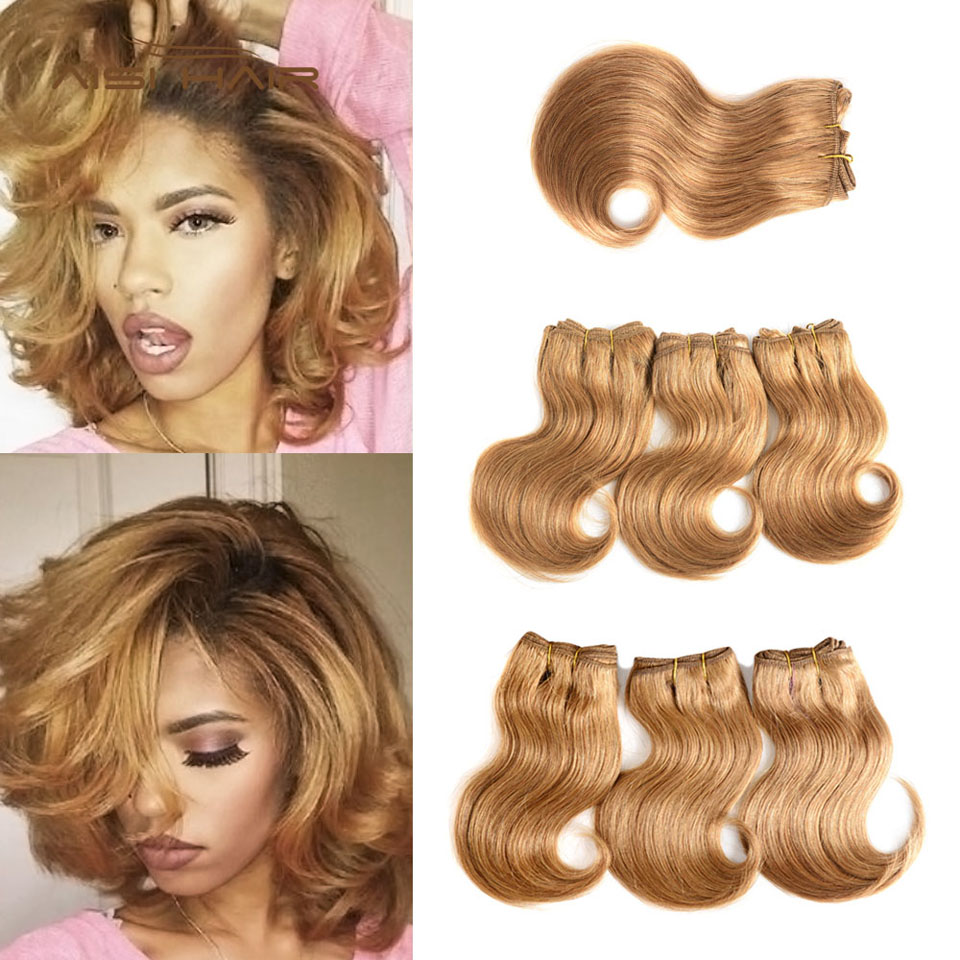 AISI Brazilian Honey Blonde Human Hair Bundles Body Wave With Closure Non Remy Hair Weaving Short Human Hair Extensions 8 inches