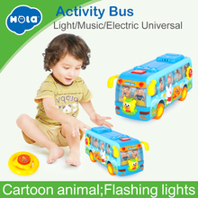 Купить с кэшбэком Free Shipping Original Huile Toys Kids Toy Electric Shaking Musical School Bus With Flashing Lights,  Bump and Go Car Baby Toys