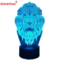 Lion Face Night Light 7 Color Changing Animal LED Night Lights 3D LED Desk Table Lamp for Children Friends Home Decoration Gift