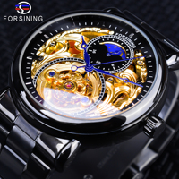 Reloj de esqueleto dorado negro Forsining 2018  reloj de acero inoxidable negro con diseño de manos azules  reloj automático para hombre