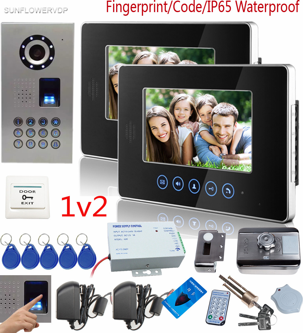 SUNFLOWERVDP Fingerprint Keyboard video doorphone systems 2 Color 7 Touch Buttons Indoor Monitor With Rfid Intercom Lock 1v2 neworig keyboard bezel palmrest cover lenovo thinkpad t540p w54 touchpad without fingerprint 04x5544