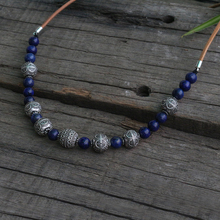 Beads Necklace Ethnic Jewelry Viking Women Slavic 8mm Lapis Lazuli 15mm LUNULA