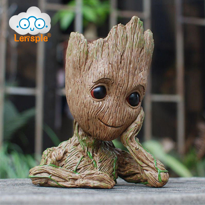 Lensple 16cm Guardians of The Galaxy Flowerpot Baby Groot Action Figures Cute Model Toy Pen Pot Best Gifts For Kids  new arrivals hote cute guardians of the galaxy 2 groot statue figure collectible model toy 9 types children gifts