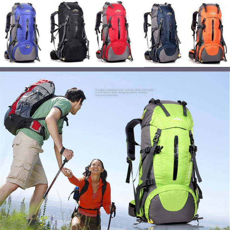 50L Rucksack Outdoorer Hiking Climbing Waterproof Travel Bag Outdoor Camping Hiking Mountaineering Backpack with Rain Cover