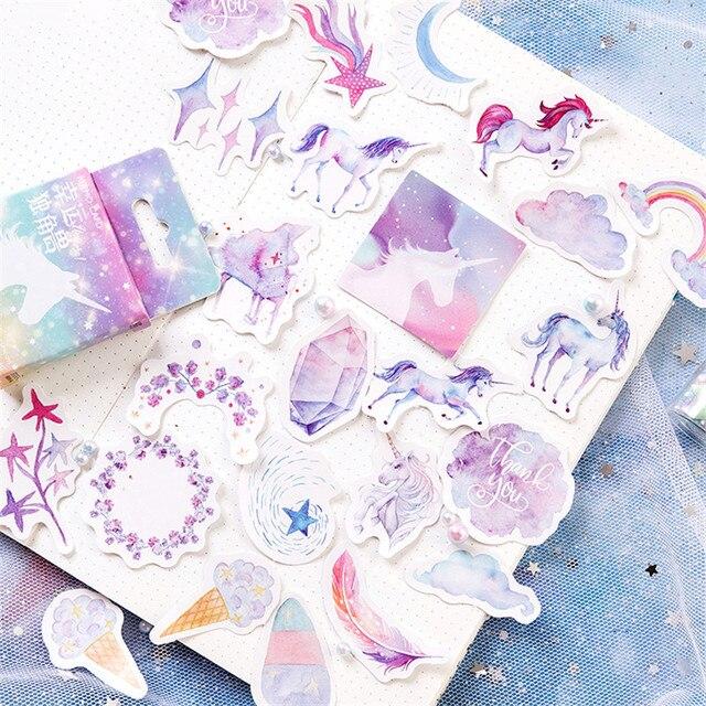 46 unids/pack Kawaii papelería pegatinas lindo unicornio patrón scrapbooking publicado It diario planificador suministros escolares
