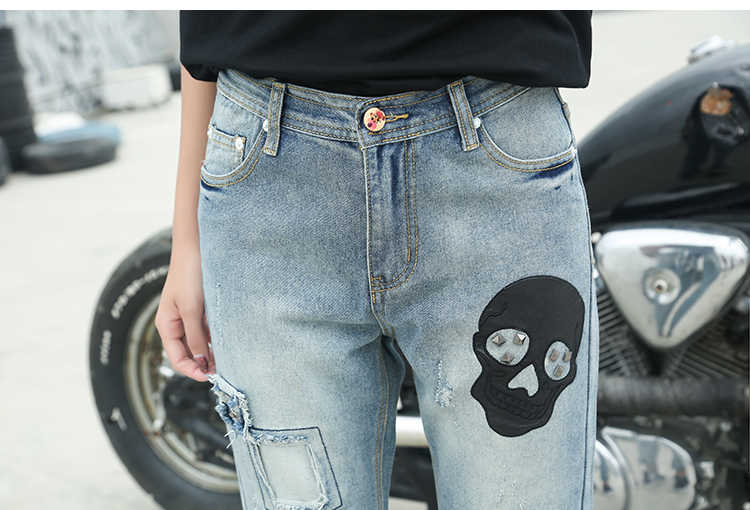 49e3d2c3b ... Boyfriend ripped jeans women patchwork jeans skull pants Cool denim  vintage jeans Women Mid waist casual