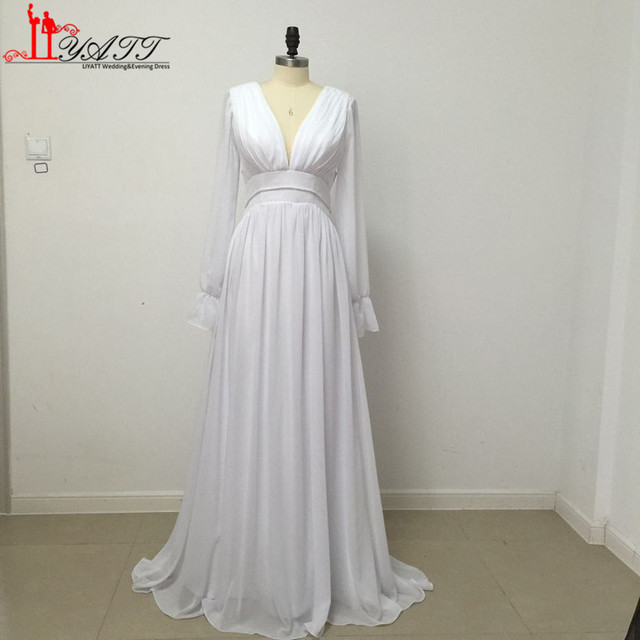 89cd9918d3a Long Sleeves Backless Hippie Wedding Dresses 2017 A Line V Neck Long  Chiffon Summer Beach Boho Wedding Gowns Plus Size Maternity