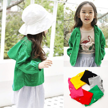 Teenager Boys Girls Childrens Wear Candy Color Sports 100% Cotton Sweater Cardigan Jacket, Spring and Autumn Kids Clothes 2-11T