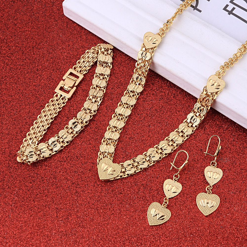 Newest Dubai Gold Jewellery Set Egyptian <font><b>Indian</b></font> Saudi African Girls Women Heart Jewelry Set image