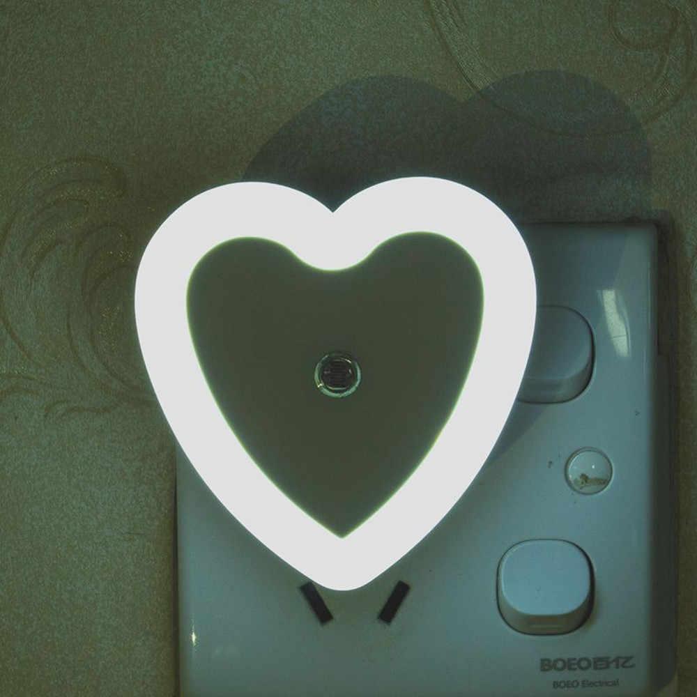 Sensor de luz Control de corazón LED luz nocturna portátil ahorro de energía pasillo escaleras inodoro lámpara de noche para niños bebé