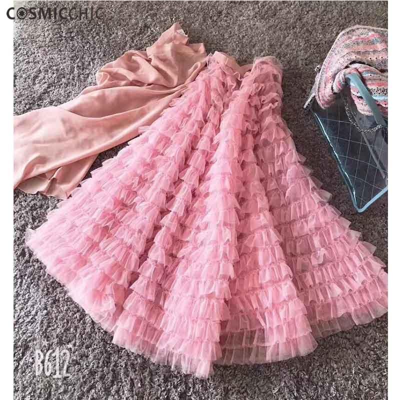Kadın Giyim'ten Etekler'de Cosmicchic Yaz 2019 Tül Uzun Etek Ipek Astar Örgü Maxi Etek Çok Renkler Faldas Largas Elegantes Pist Yüksek Kalite'da  Grup 1