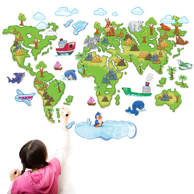 World map for children wall stickers tv backdrop cartoon version of world map for children wall stickers tv backdrop cartoon version of the map in europe and gumiabroncs Images