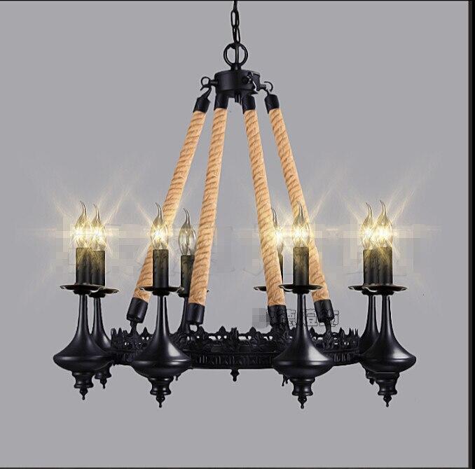 Creative Retro Clothing Store Hemp Rope Lamps  American Europe Restaurant Cafe Bar Engineering Droplight