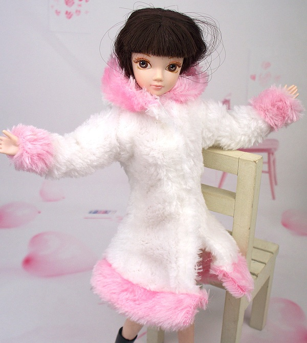 New Design 2015 White & Pink Plush Coat Winter Put on Clothes Outfit Garments For 1/6 Kurhn Barbie Doll