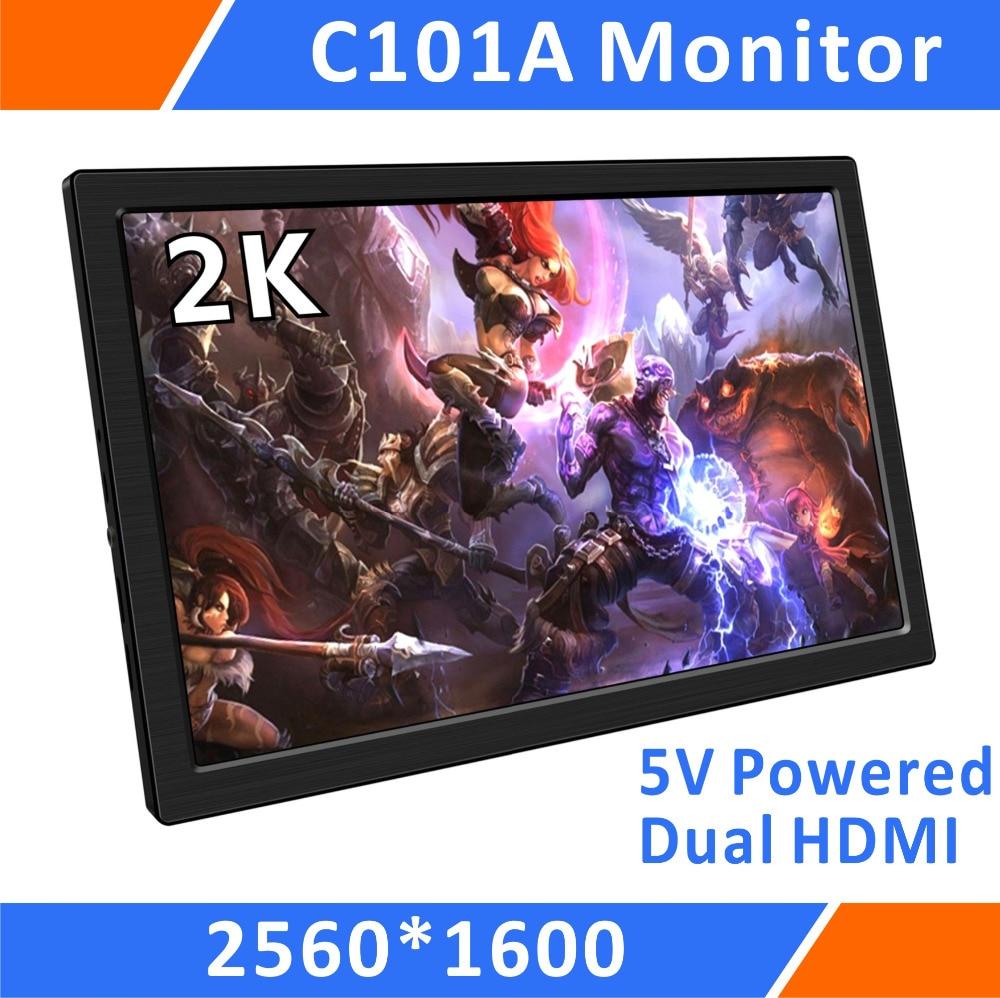 все цены на 10.1'' Led Small Slim Portable Monitor 1440P IPS Screen Dual HDMI Input for Raspberry Pi PS3 PS4 Xbox360 WiiU Mini PC FPV(C101)