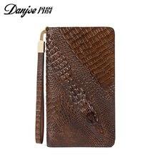 Danjue Genuine Leather 3D alligator men Day Clutches Zippers Business long wallets Gentleman Handbag Coin Purse Card Holders