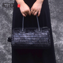 AETOO Retro fashion winter big bag portable fish scales sheepskin handbags Europe shopping