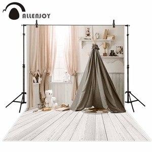 Image 2 - ستارة خلفية بيضاء من Allenjoy photophone لغرف الأطفال خيمة استحمام لوح خشبي استوديو تصوير داخلي للأطفال خلفية التقاط الصور